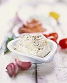 Home-made garlic butter, paprika butter behind