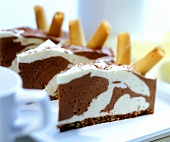 Zebra cake (brown and white chocolate mousse)