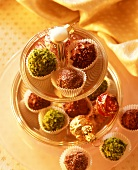 Assorted chocolate truffles on a tiered stand
