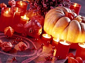 Decoration for Halloween buffet with red memorial lights