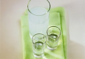 Raki (Turkish aniseed spirit) neat and diluted in glasses
