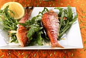 Triglie alla griglia (barbecued red mullet with rocket salad)