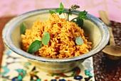 Turkish rice with tomato puree and mint (Naneli pilav)