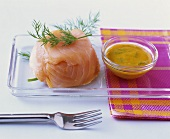 Small salmon terrine with dill and mustard sauce