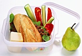 Vegetarian office snack in lunchbox