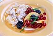 Sweet risotto with pine nuts and fruit