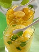 Sweet melon jam with sherry and pineapple and banana jam