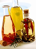 Herb oil, garlic oil and chili oil