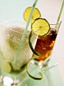 Caipirinha and Cuba Libre in long drink glasses