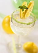 Mint Lemonade in glass with peppermint sugared rim