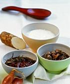 Shallot & red wine sauce, mushroom sauce & horseradish sauce