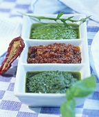 Three types of pesto: genovese, rosso and rocket