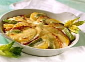 Celery and apple gratin with  mozzarella topping