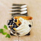 Walnut mousse with fresh blueberries