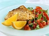 Swordfish with tomato and rocket salad