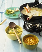 Exotic coconut fondue with curried almond dip & pineapple dip