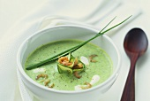 Cold courgette soup with shrimps and herbs