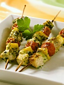 Barbecued swordfish kebabs