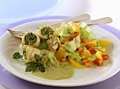 Plaice rolls with fruit iceberg lettuce salad