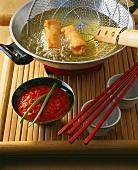 Fondue with spring rolls and ajvar sauce (pepper sauce)