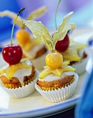 Orange muffins with fresh fruit