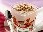 Plum yoghurt (yoghurt with plum compote and nuts)