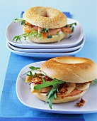 Bagels with chicken breast and bacon, and with salmon