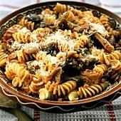 Fusilli alla silana (pasta with mushrooms) Calabria, Italy