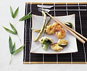Japanese tempura (deep-fried vegetables in batter)