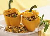 Yellow peppers with rice stuffing