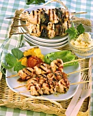 Barbecued turkey kebabs & chicken & bacon-wrapped plum kebabs