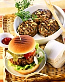 Barbecued hamburger & barbecued burgers with pine nuts