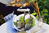 Steckerlfische (mackerel grilled on stick)