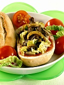 Gyros roll (baguette roll filled with gyros and salad)