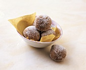 Balls of sugar-coated chocolate pastry
