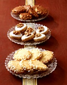 Sandies, walnut biscuits and hazelnut biscuits