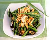 Wok-cooked beans and tofu with shiitake mushrooms