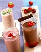 Milkshakes: raspberry, strawberry, cherry, chocolate
