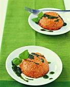 Tomato flan with basil sauce