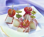 Bocconcini (melon, ham, olives, tomatoes on cocktail sticks)