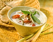 Thai chicken soup with lemon grass and mushrooms