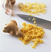 Chopping ginger and garlic