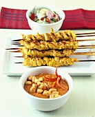 Thai meat kebabs with peanut sauce