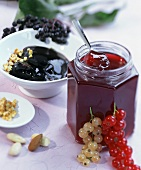 Redcurrant jelly with Cassis; elderberry jelly with praline