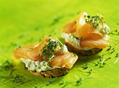 Wholemeal sandwiches with soft cheese, salmon and cress