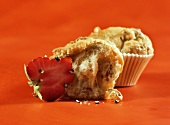 For lovers: walnut muffins beside peppered strawberries