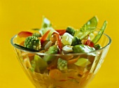 Vegetable curry in glass bowl