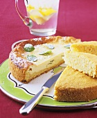 Spanish cheesecake with mint (Flao); almond sponge cake