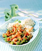 Shrimps with peppers, tomatoes and rice (seafood gumbo)