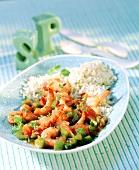 Garnelen mit Paprika, Tomaten und Reis (Gumbo Seafood)